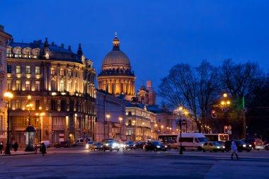 Evening illumination of Saint Petersburg, Russia