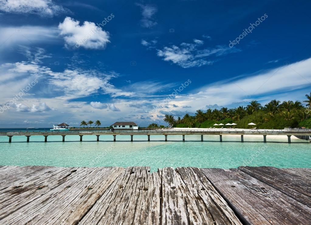 Beautiful beach with jetty