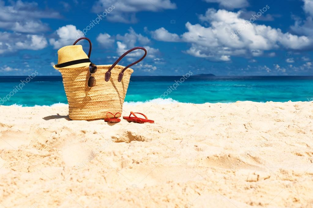 beach with bag at Seychelles