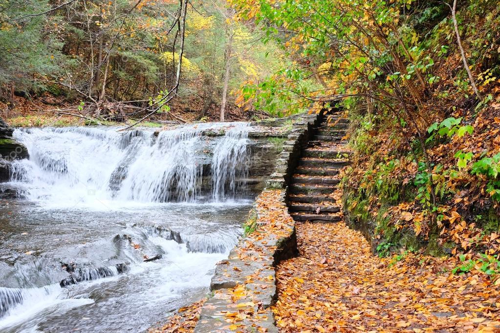 Autumn scene of waterfalls