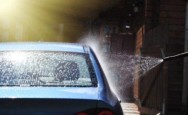 Blue car washing