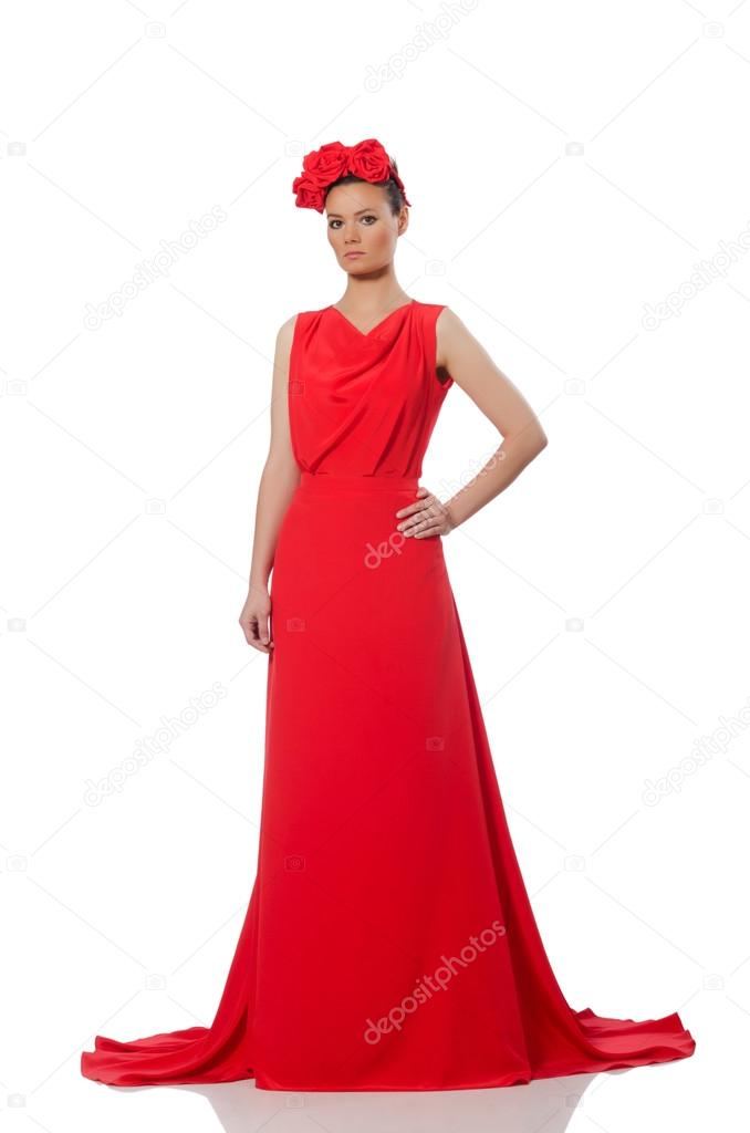 64d11e05c773 Modello abbastanza caucasica in vestito da sera lungo rosso isolato su  bianco — Foto di ...