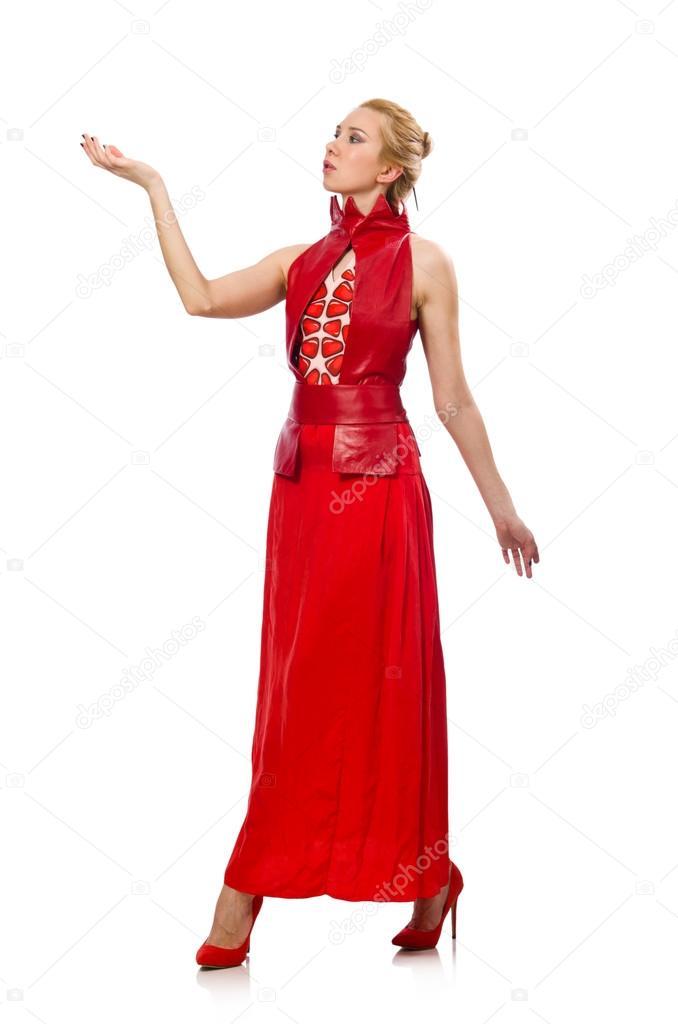 09428f1a38d4 Modello di capelli biondi in vestito con il melograno isolato su bianco–  immagine stock