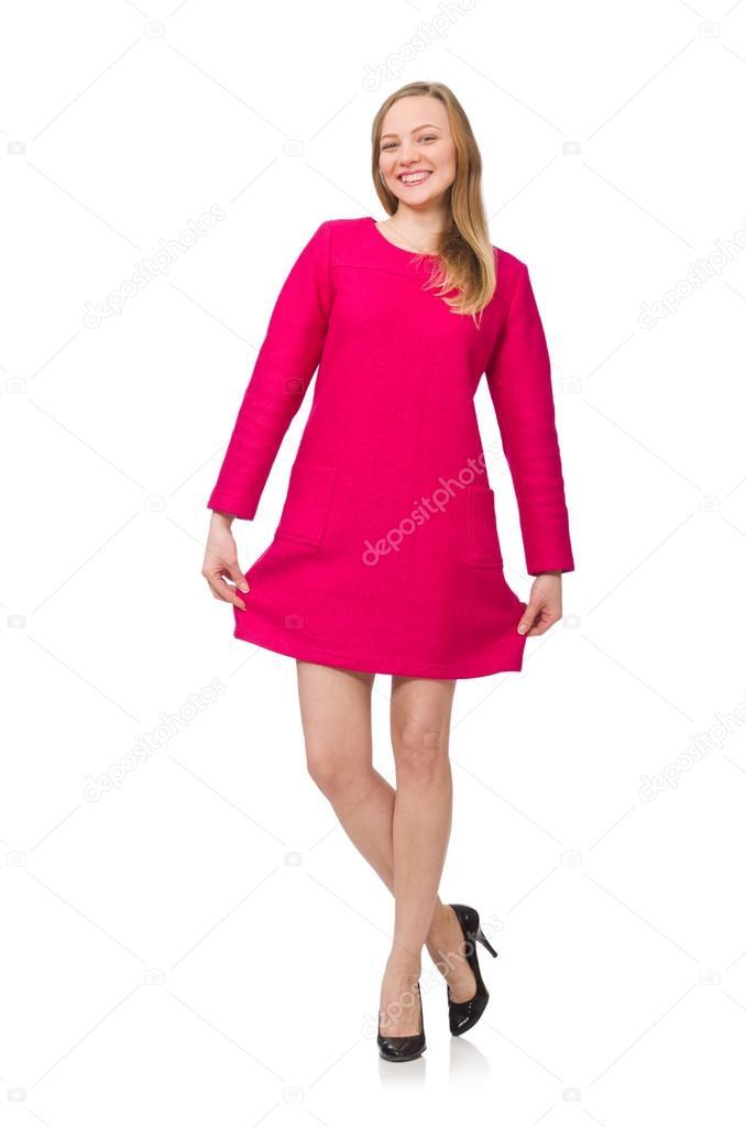 Hübsches Mädchen in rosa Kleid, isoliert auf weiss — Stockfoto ...