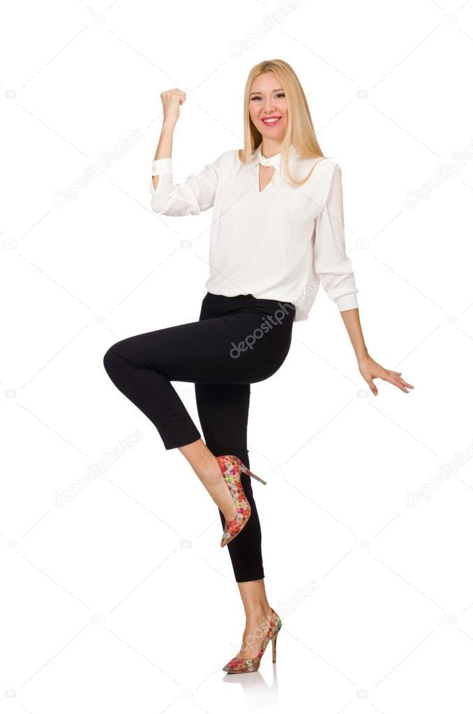 60568e93f1 Woman wearing official casual style isolated on white — Stock Photo ...