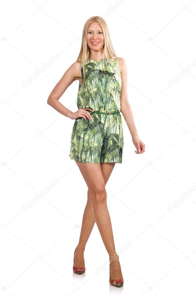 694cb05c2b7d Blond vlasy žena nosí zelené krátké šaty izolovaných na bílém– stock obrázky