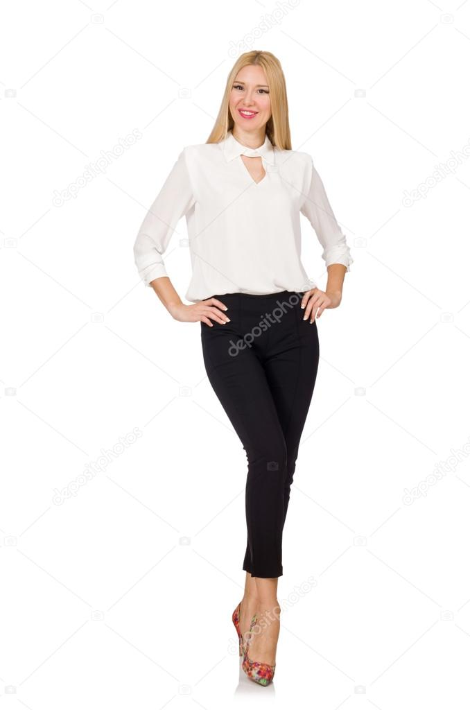 4aac6611182 Woman wearing official casual style isolated on white — Stock Photo ...