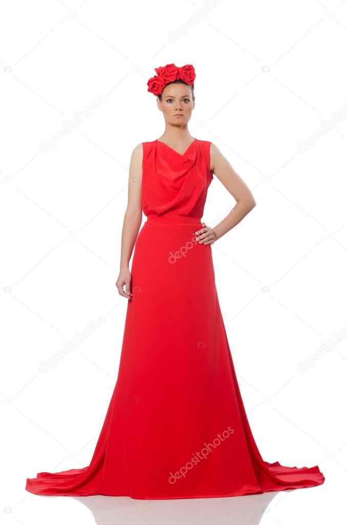 Ziemlich caucasian Modell in rot langes Abendkleid — Stockfoto ...