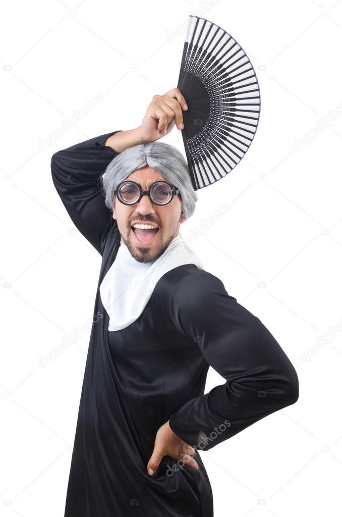 656958f7b Che Uomo Foto — Indossa Suora Bianco Il Isolato Su Stock Costume rxedCBoWQ