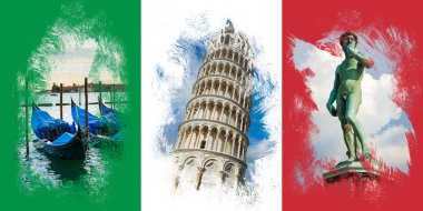 Italian flag with famous italian attractions stock vector