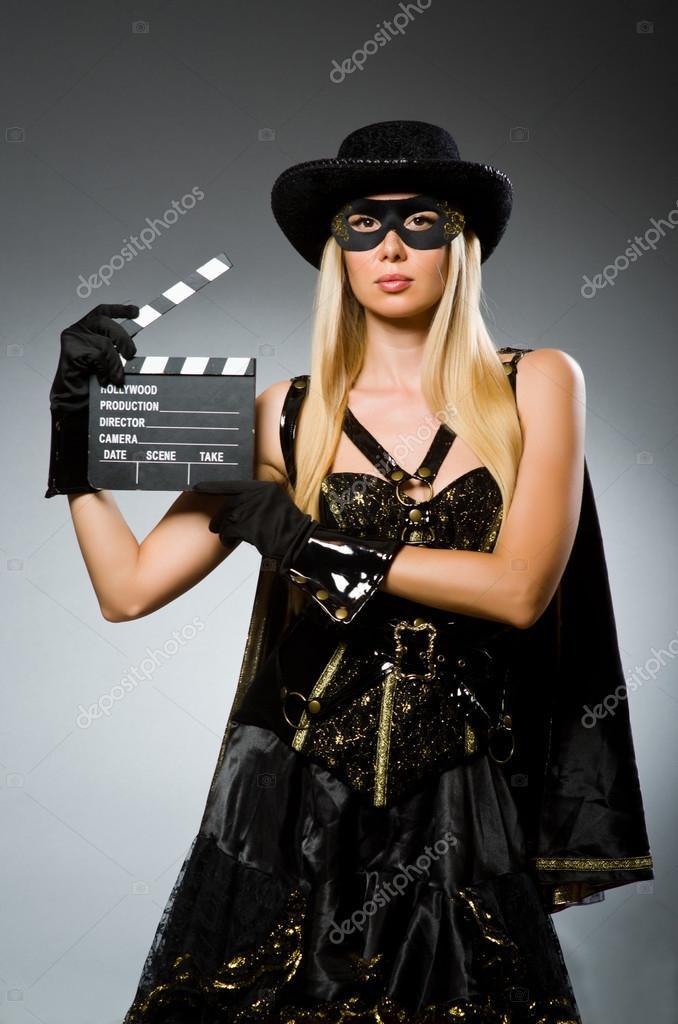 Frau Im Piratenkostüm Halloween Konzept Stockfoto