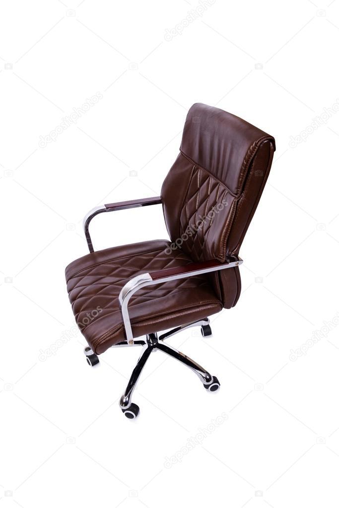 Moderne Lederen Bureaustoel.Bruin Lederen Bureaustoel Geisoleerd Op Wit Stockfoto