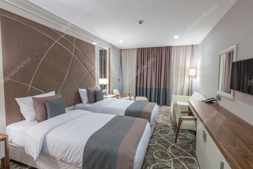 . Modern hotel room decor   Modern hotel room with big bed   Stock