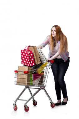 Woman with shopping cart and bags isolated on white stock vector