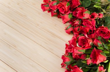 Rose flowers arranged with copyspace for your text