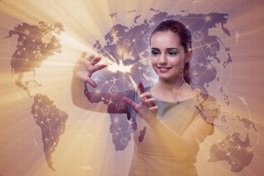 Businesswoman in world transportation concept