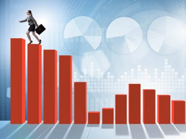 Businesswoman climbing bar chart in economic recovery concept