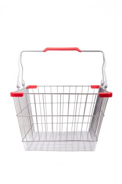 Shopping supermarket trolley isolated on the white stock vector
