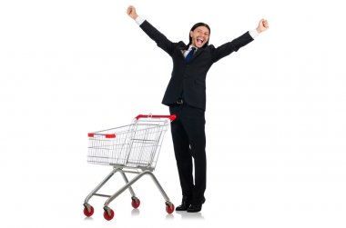 Man shopping with supermarket basket cart isolated on white stock vector