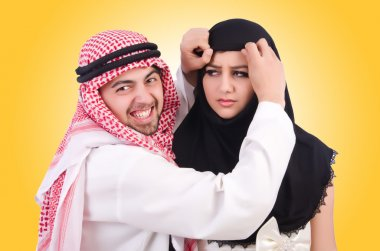 Arab man with his wife