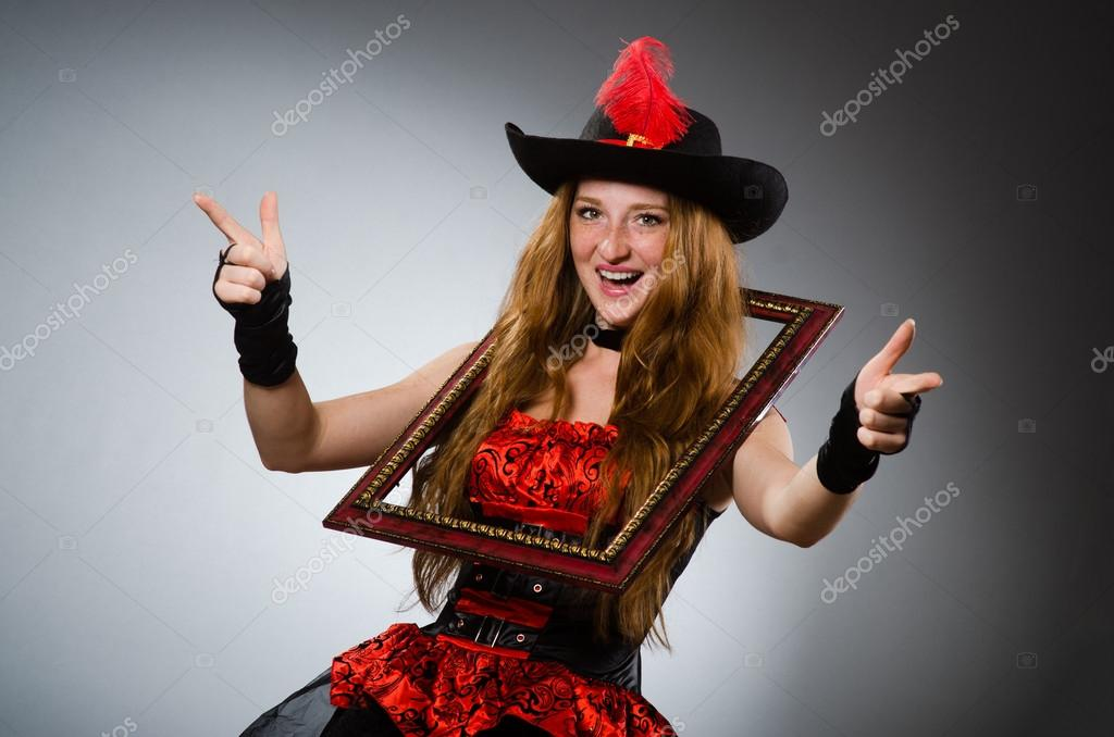 Woman Pirate With Picture Frame Stock Photo Elnur 57367545