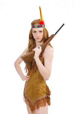 Indian woman with rifle on white
