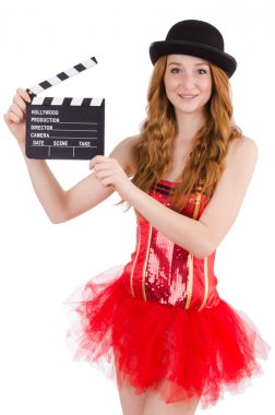 Young fairy with clapperboard isolated on white stock vector