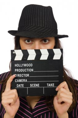 Woman with movie clapboard isolated on white background stock vector