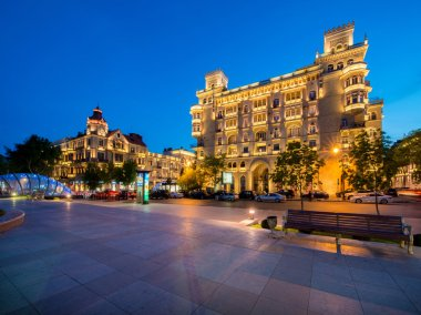 Illuminated building in the city center in Azerbaijan