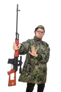 Military man with a gun