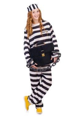 Girl in prisoner robe isolated on white
