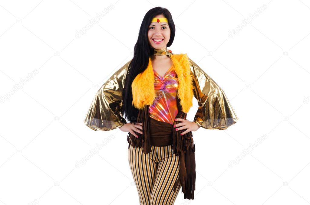 Šaty dívka tanečnice v barevné latino izolované na bílém pozadí — Fotografie  od ... df6c9fe65b1