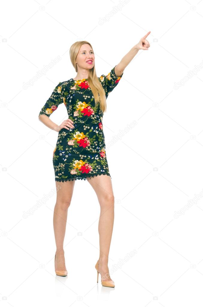b6c4d2f95701 Woman in dark green floral dress isolated on white background — Foto de ...