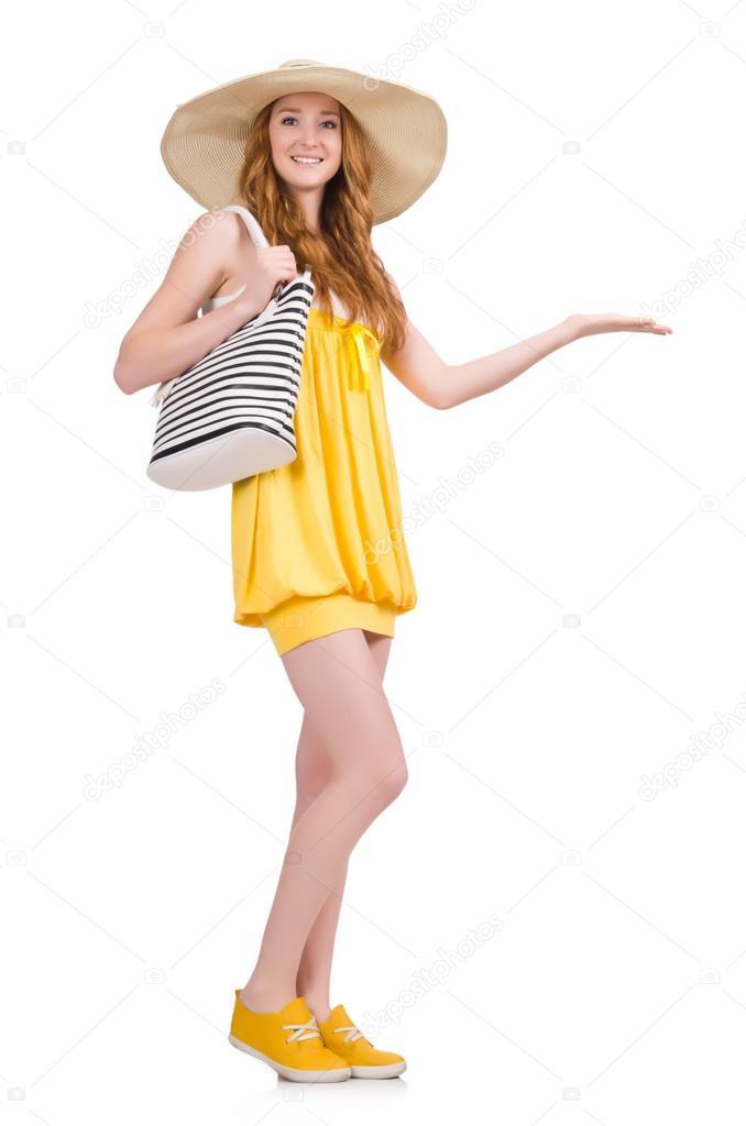 80c9849f2a73 Giovane donna in estate giallo vestito isolato su sfondo bianco — Foto di  ...