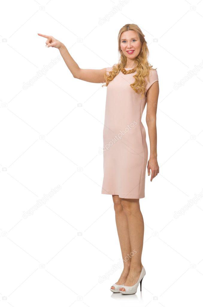 ce798b0c8c5492 Mooie dame in roze jurk geïsoleerd op wit — Stockfoto © Elnur   70309383