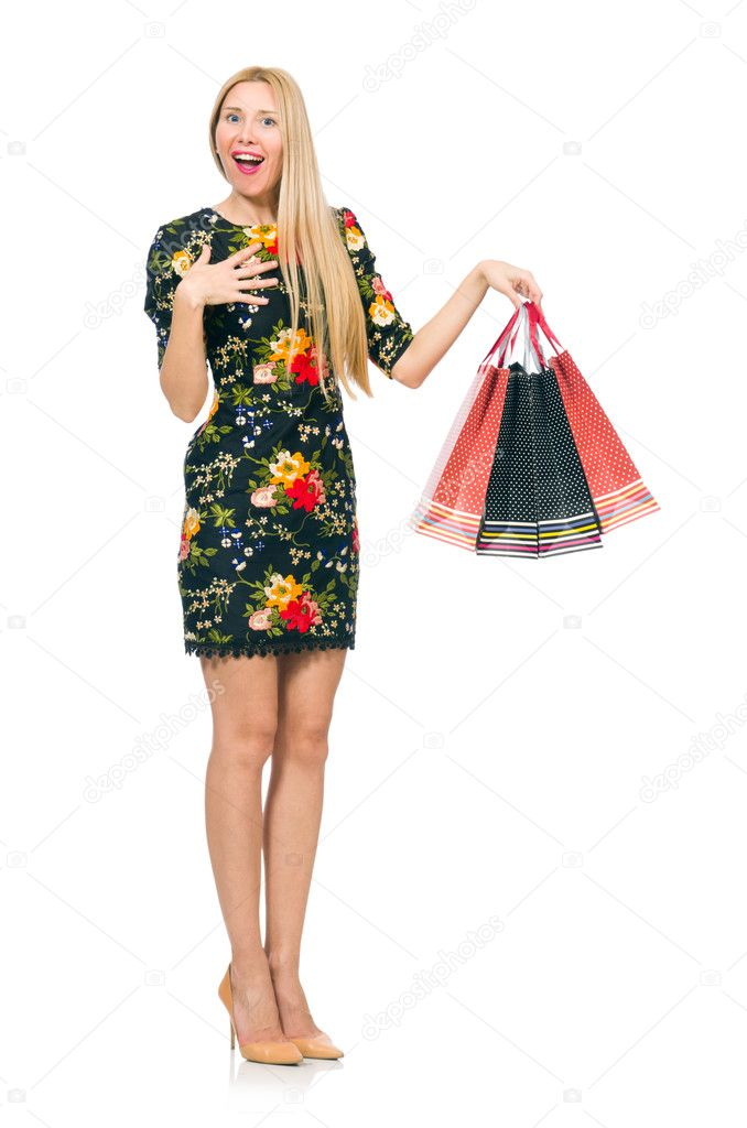 33be0f7875d9 Woman in dark green floral dress isolated on white — Stock Photo ...