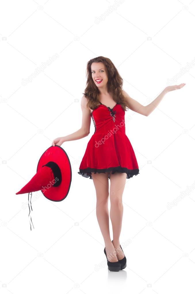 21f904613e Modelo de mujer joven posando en mini vestido rojo — Fotos de Stock ...