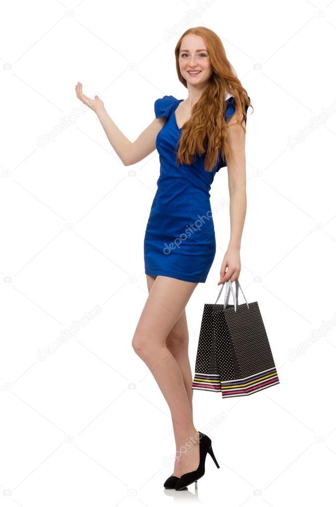 582b3b336 Bella dama con bolsas de shoppin — Fotos de Stock © Elnur   72083789