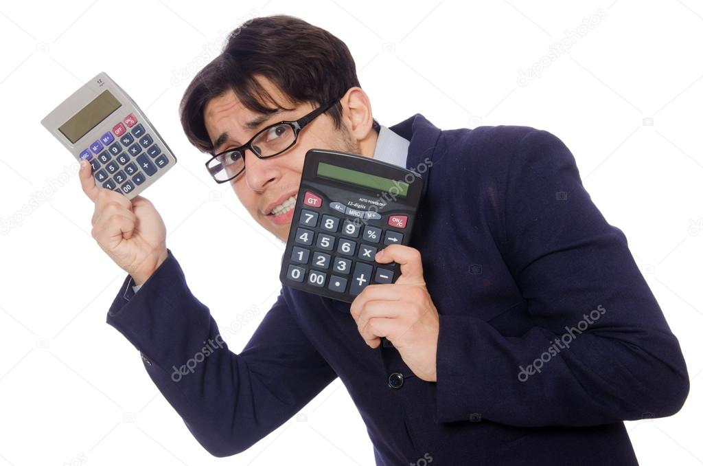 Funny man with calculator isolated on white — Stock Photo