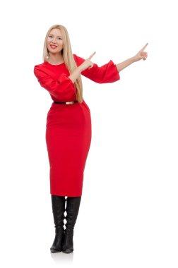 Beautiful woman in red long dress