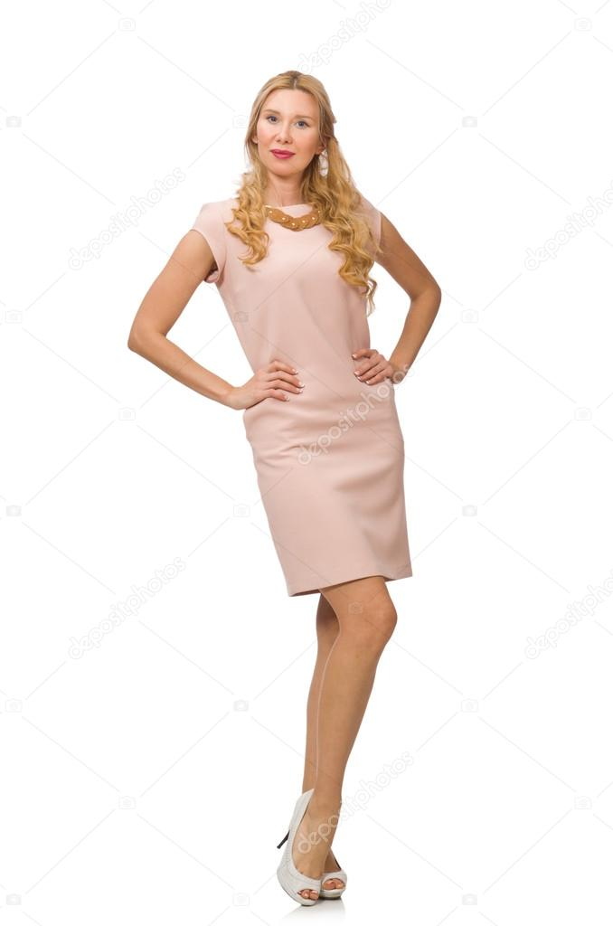 7cbd15170c4561 Mooie dame in roze jurk geïsoleerd op wit — Stockfoto © Elnur   74802247