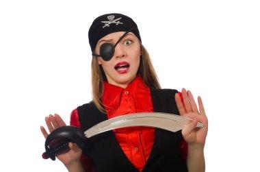 Pretty pirate girl holding sword