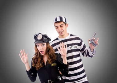 Police lady and prison inmate
