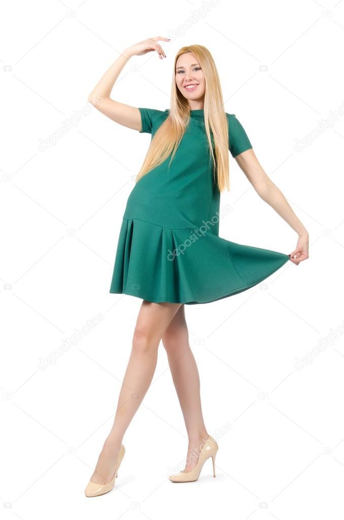 5f051b6ccf1 Belle femme enceinte en robe vert isolé sur blanc– images de stock libres  de droits