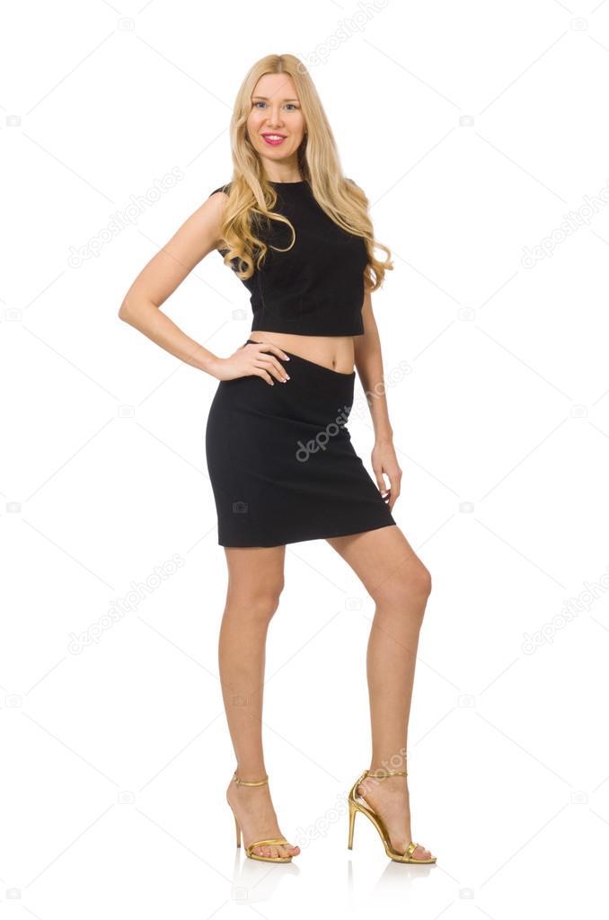 4daf74281626 Bella ragazza in mini vestito nero — Foto Stock © Elnur   77328770