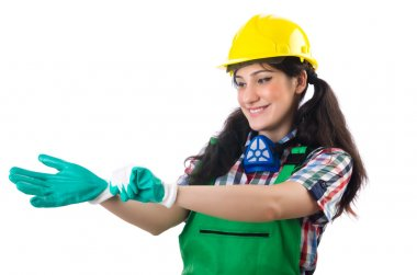 Female workman in green overalls isolated on white stock vector