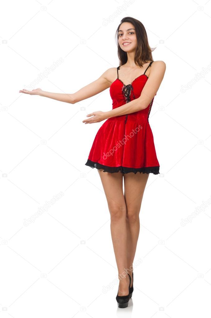 67c9d43d17 Mujer con vestido corto mini rojo aislado en blanco — Fotos de Stock ...