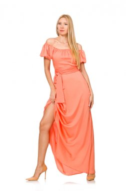 Young woman in pink romantic dress