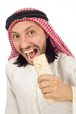 Arab man earing wrap isolated on white