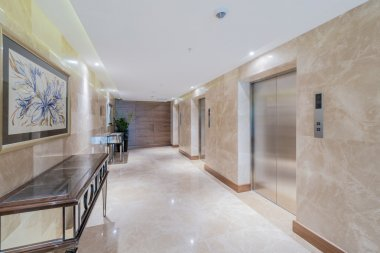 Hotel lobby with elevator space